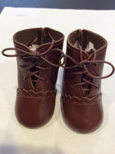 "2 5//8"" Light Brown Leather Boots for Antique Repro or Modern Doll"