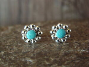 Zuni-Indian-Jewelry-Sterling-Silver-Turquoise-Post-Earrings-by-Charlynn-Cachini