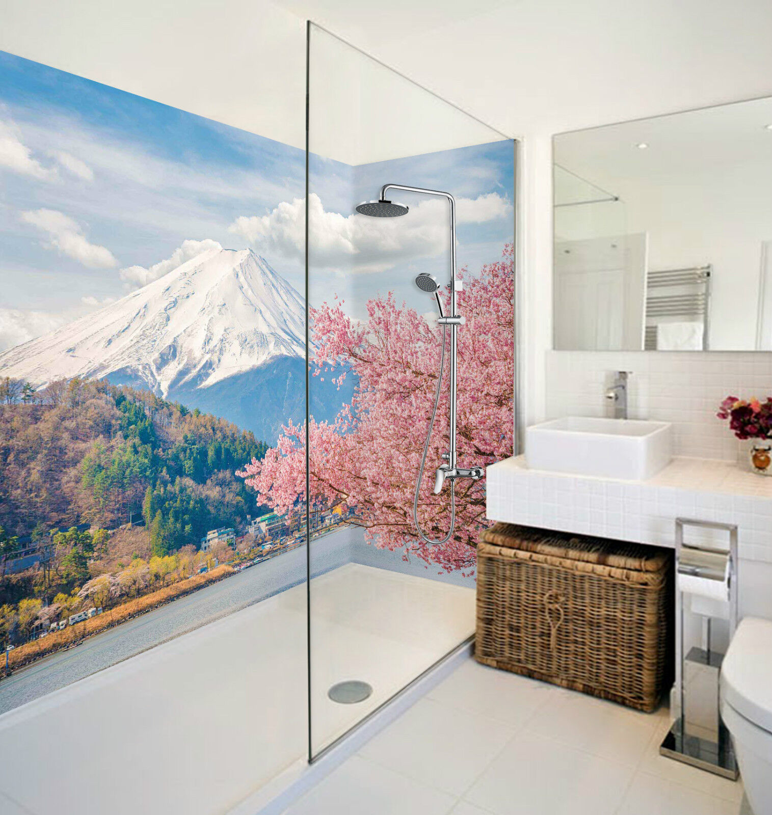 3D Mount Fuji Flowers 3 WallPaper Bathroom Print Decal Wall Deco AJ WALLPAPER CA