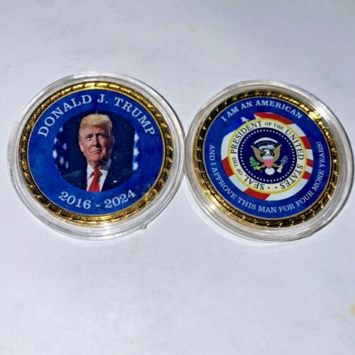 Beautiful President Trump 4 More Years Personalized Gold Roped Edge Victory Coin