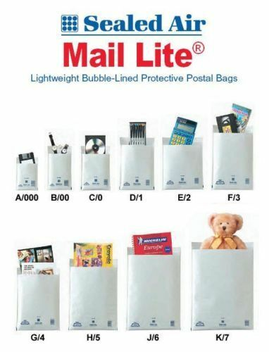Mail Lite Bubble Padded Envelopes Mailer Bags White or Gold A000 CO D1 F3 E2 J6