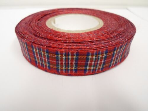 2 metres or 25 metres 12mm Tartan Ribbon double sided scotish Roll UK VAT Reg