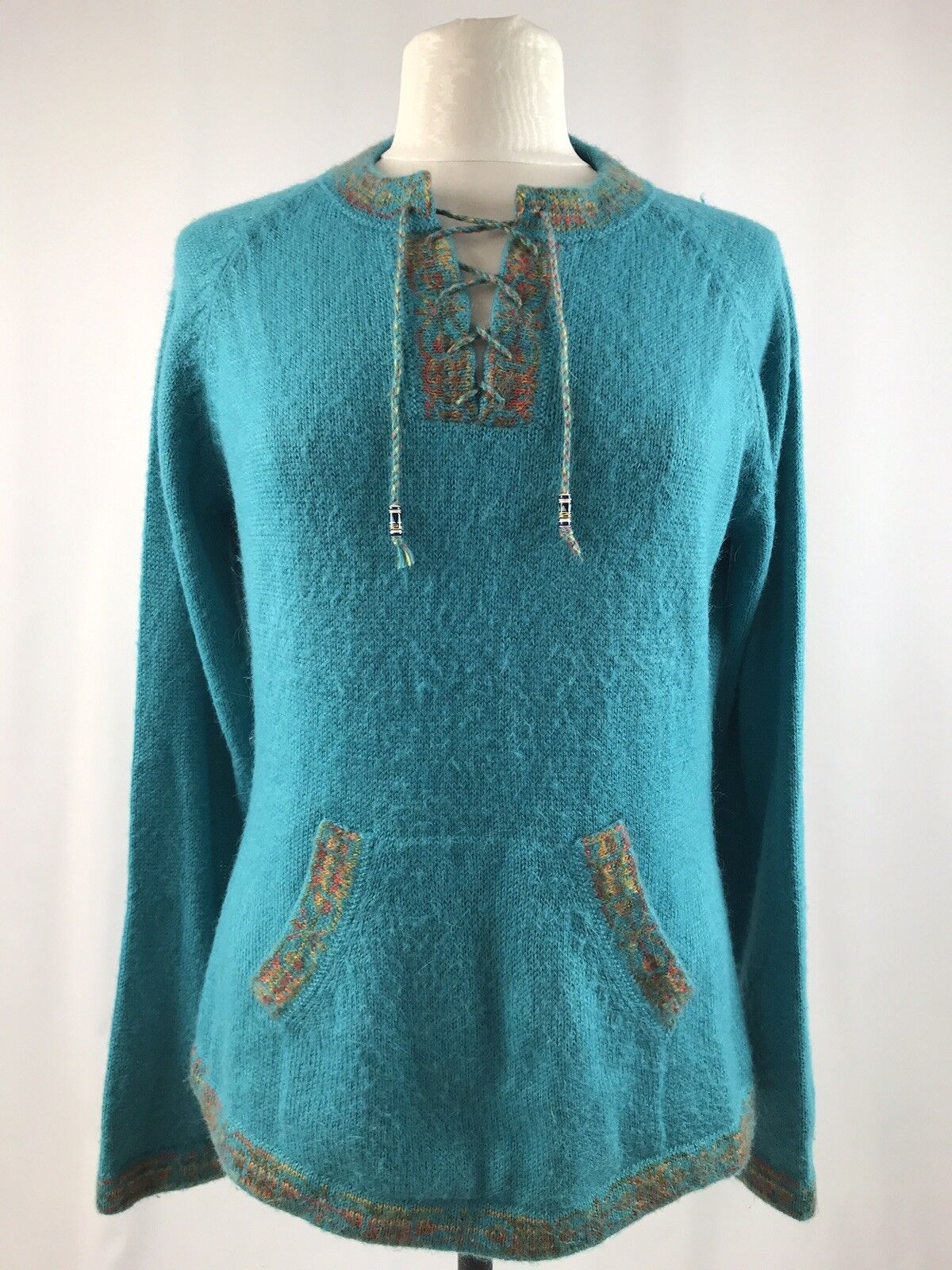 The Alpaca Connection Alpaca Pull Over Tunic Sweater Size Large Teal