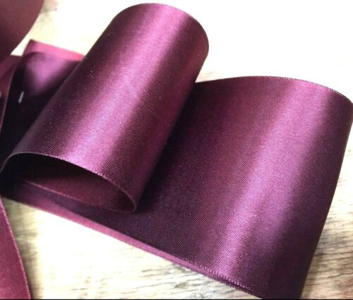 """VINTAGE 2 1//4/"""" FRENCH Double Sided SATIN RAYON blend 1yd Ribbon"""