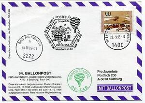 1995 Ballonpost N. 94 Pro Juventute Aerostat Oe-zab Bad Pirawarth Onu Mistelbach