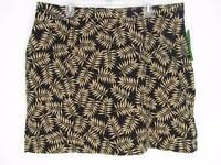 Allyson Whitmore Golf Skort 18w Black W/ Beige Leaf Design Shorts Skirt 2x