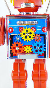 JAPANESE-TIN-TOY-BATTERY-034-NEW-GEAR-034-ROBOT-COLLECTABLE-MADE-IN-JAPAN-METAL-HOUSE