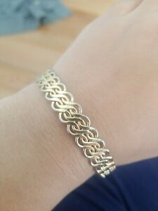 3-Rows-034-S-034-Shaped-Fashion-Jewelry-Braclet-Chain-Bangle-Gold-Tone