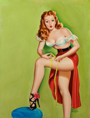 Peter Driben Pin Up Girls Thigh Measurement Giclee Canvas Print Paintings