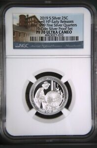 2019-S-First-999-Fine-Silver-Quarter-25c-Lowell-Early-Releases-NGC-PF70-U-C-ATB