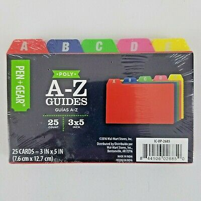 Pen Free 3 Day Shipping Gear 3x5 A-Z Poly Index Card Guides New