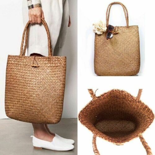 Women Handmade Summer Straw Beach Bag Tote Shoulder Basket Shopping Big Handbag