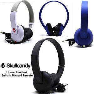 New Skullcandy Uproar On ear Headphones with Built In Mic White Black Blue