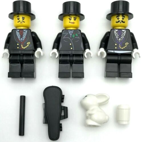 LEGO 3 NEW MAGICIAN MINIFIGURES RABBIT IN A HAT TRICK BLACK MAGIC WAND MORE