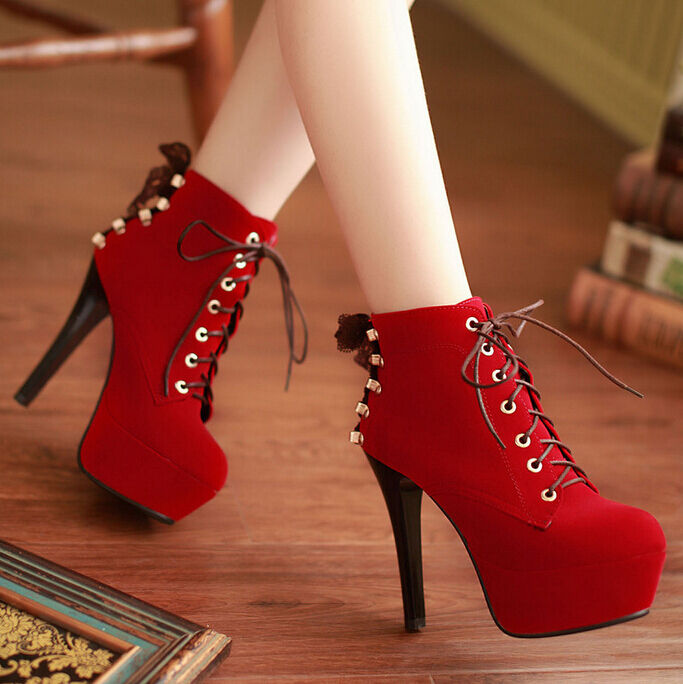 Fall Women's Suede Ankle Boot Lace Up Retro Round Toe High Heel stiletto Plus SZ