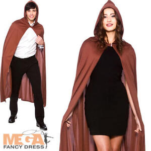 Brown Cape with Hood Fancy Dress Fairytale Womens Mens Adults Costume Accessory