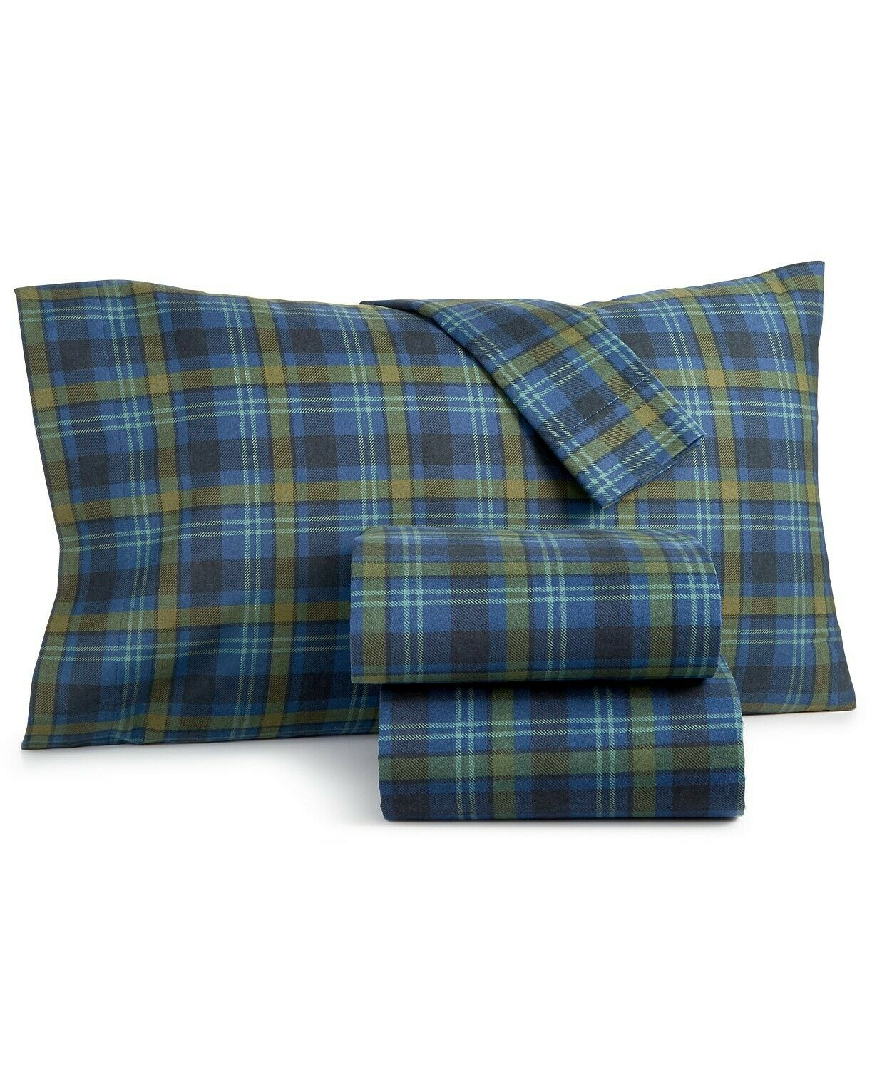 Martha Stewart Collection Markham Cotton 3-Pc. Plaid Flannel Twin Sheet Set