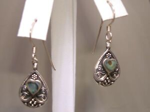 VINTAGE-ORNATE-STERLING-SILVER-INLAID-ABALONE-DANGLE-EARRINGS