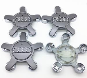 Silber-4-x-135mm-Alufelgen-Felgendeckel-Nabenkappen-Silver-Wheel-Cap-fuer-AUDI