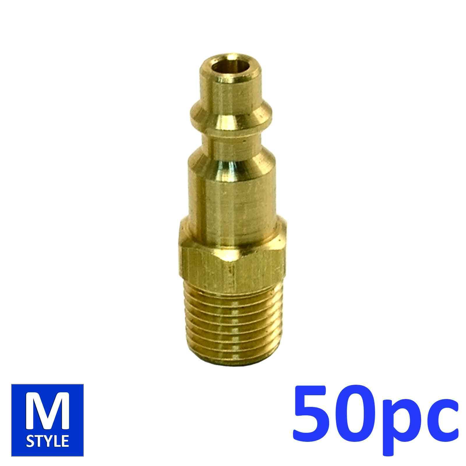 50pc Industrial Solid Brass Air Fittings 1 4  NPT male Milton M type Plug 727
