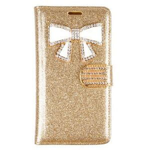 Lavish Bling Glitter Case W/Bow and Credit Card Slots Wallet Case For LG G3 Gold