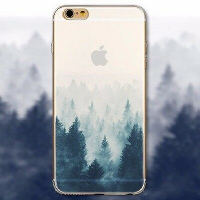 A Dark Cold Foggy Misty Winter Forest Silicone Case for iPhone 4S 5 5S 6 6S Plus