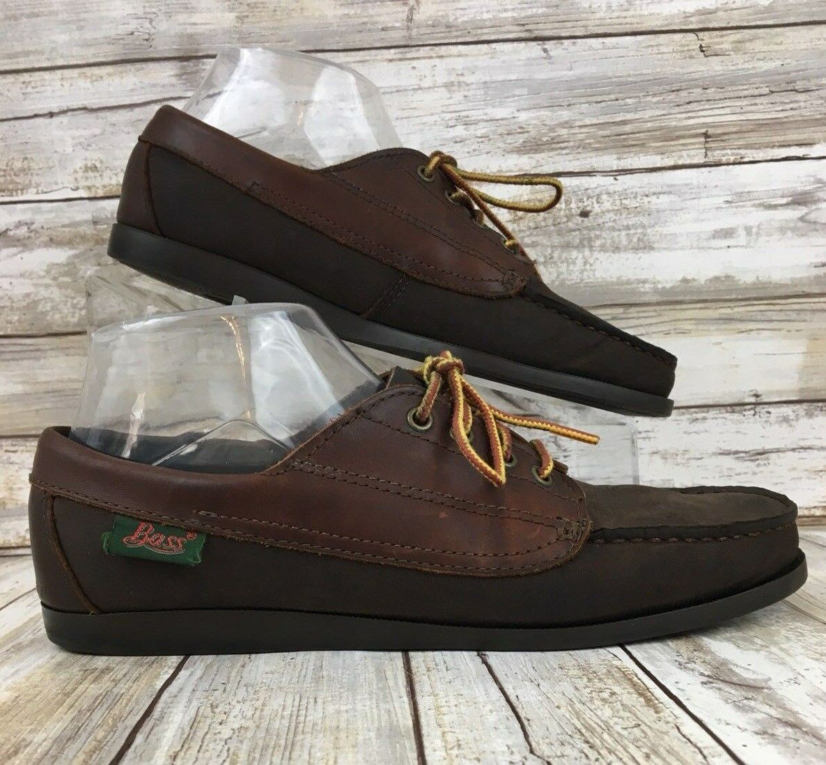 Vtg Bass Dock Boat shoes Womens Size 8.5M Brown Oiled Leather Moc Toe Lace Up USA