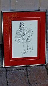 SELMA-WALDMAN-1969-ORIGINAL-MAN-amp-DRUM-PENSIL-DRAWING-SIGNED-FRAMED-2