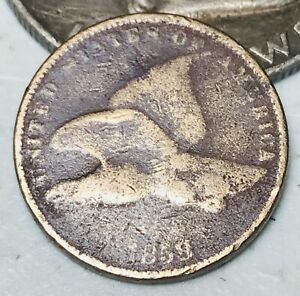 1858-Flying-Eagle-Cent-One-Penny-1C-Small-Letters-Civil-War-Era-US-Coin-CC3618