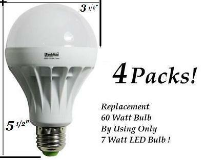 4 Pack 7 Watt Led 110v Light Bulbs 60 Watt Replacement Energy Saving 80 Bulb 827680336232 Ebay