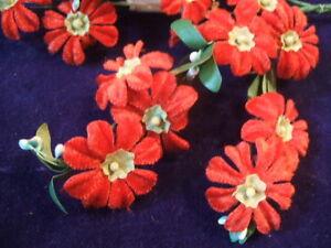 Vintage-Millinery-Flower-Velvet-Japan-Y19-Lot-of24-Red