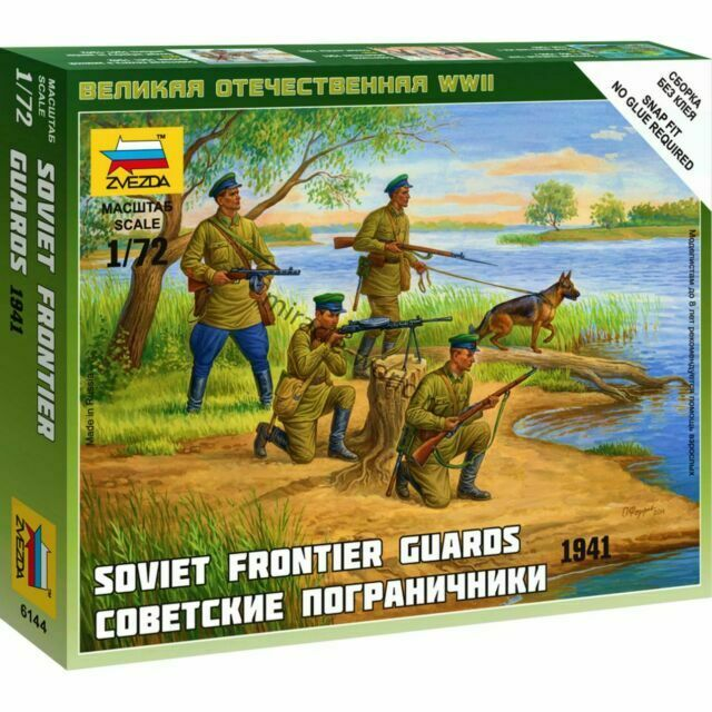 Zvezda 1//72 6144 WWII Soviet Frontier Guards 1941 4 Figures w//a dog in Box