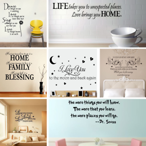 Details about Vinyl Word Quote Family Wall Stickers Mural Home Bedroom  Living Room Art Decal