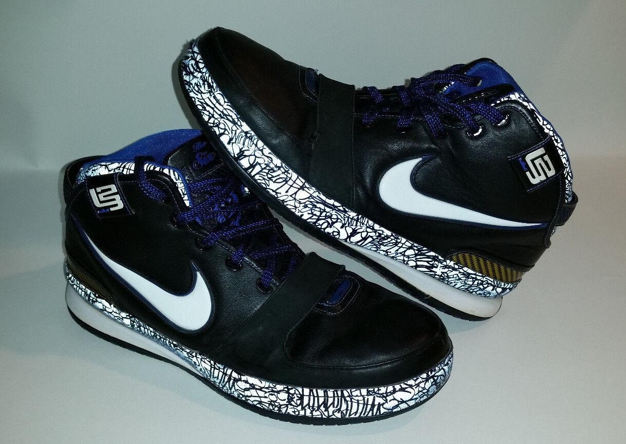 Nike zoom lebron vi scarpe da basket uomini sz 14 nero & blu graffito 346526-011