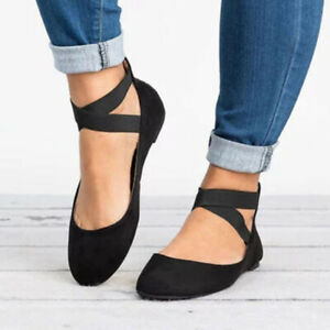 Ladies-Ankle-Strap-Ballerina-Womens-Ballet-Flats-Court-Pumps-Summer-Shoes-Size