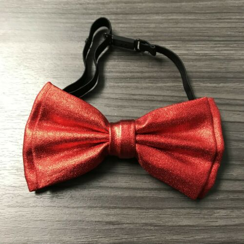 Metallic Red Glitter Suspenders and Bow Tie Matching Set Wedding Prom Adult