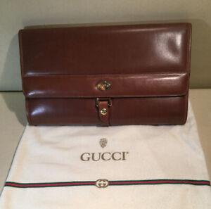Authentic-Vintage-GUCCI-BROWN-LEATHER-Hand-Shoulder-Bag-Goldtone-Hardware-EUC