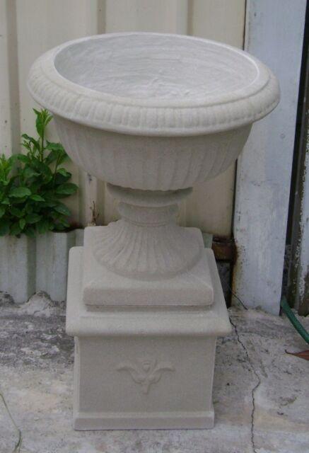 NEW 72cm Tall Urn + Stand Garden Pot Combo