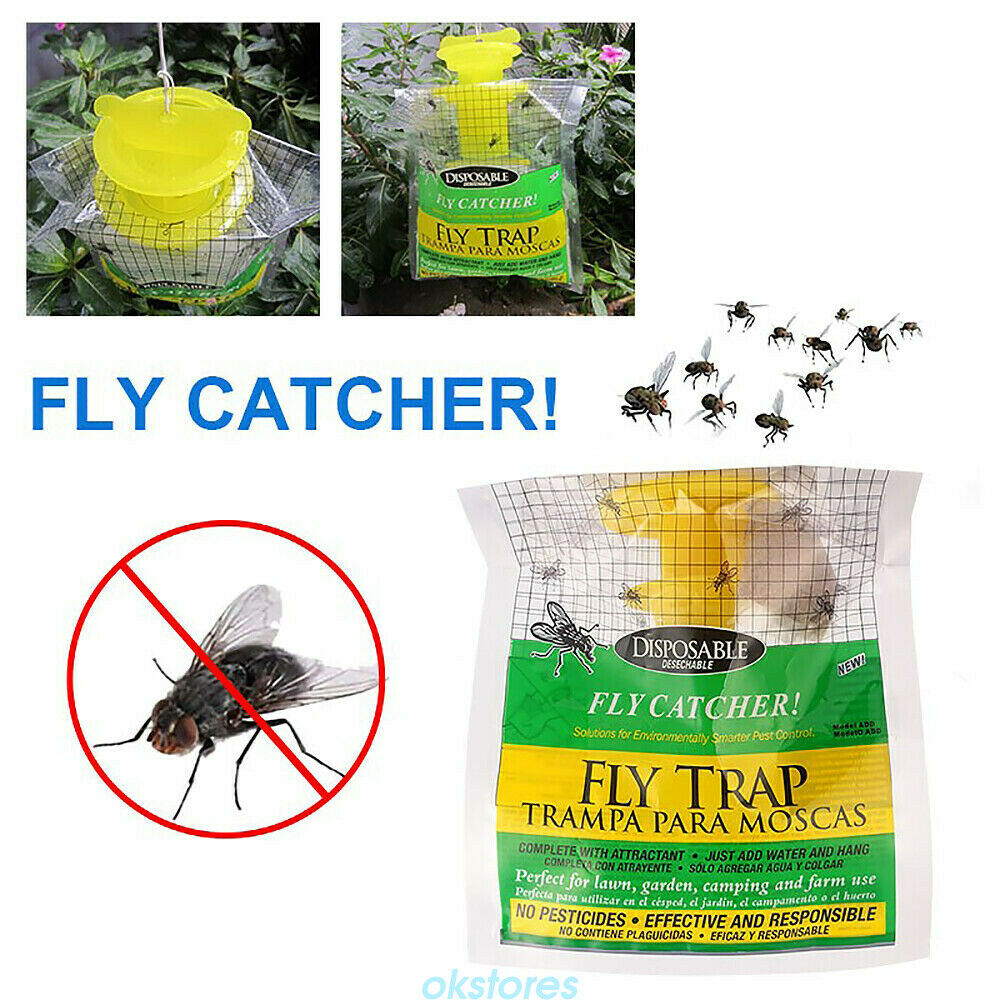Rescue Disposable Fly Trap Catches Up To 20000 Flies Just Add Water /& Hang CA