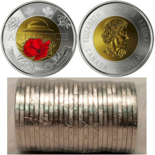 2018 Canada $2 100th Anniversary of the Armistice Red Poppy Toonie Roll of 25pcs