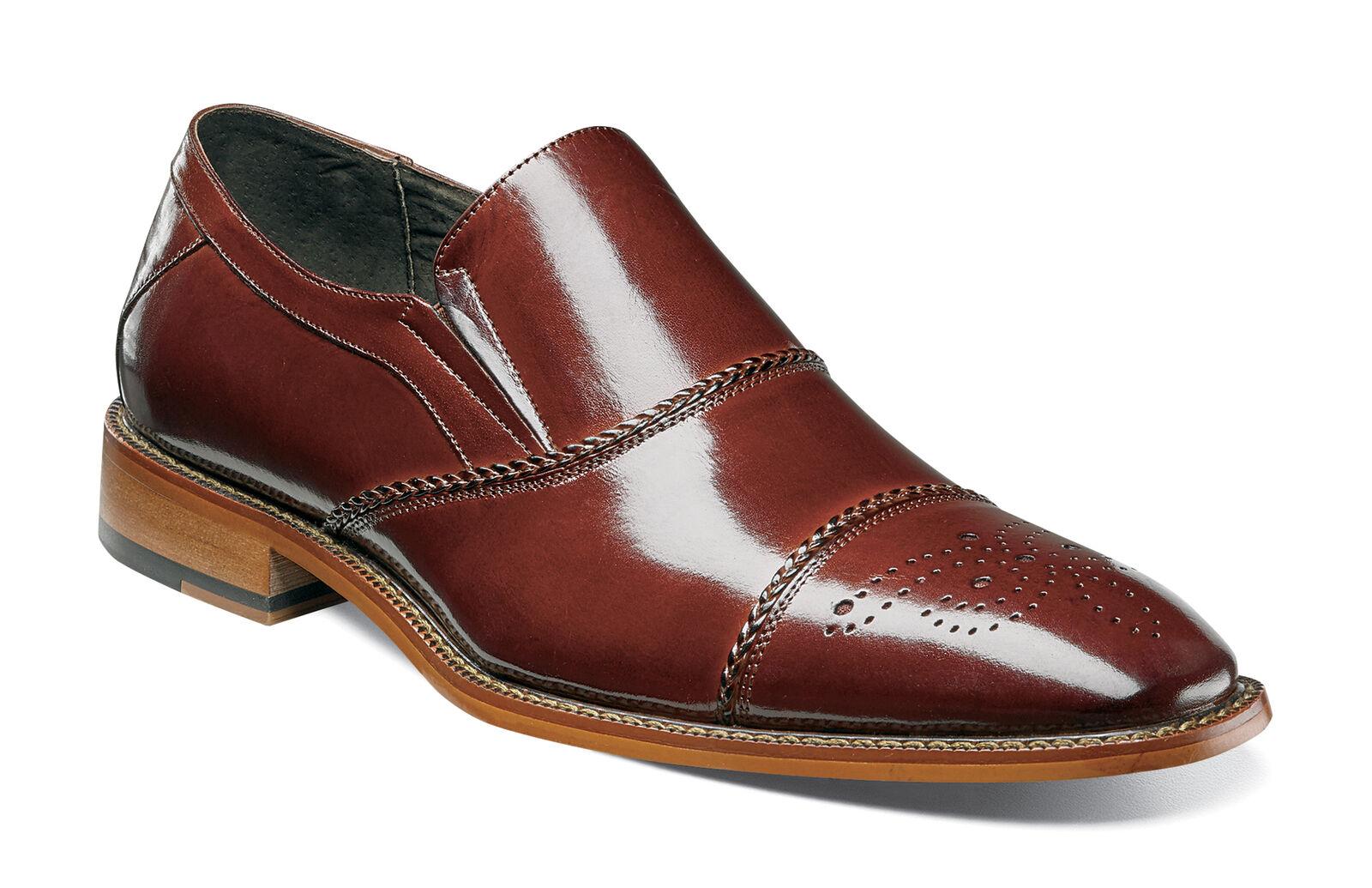 Stacy Adams Brecklin Cognac Cap Toe Medallion Classic Dress Shoes Size 12 Scarpe classiche da uomo