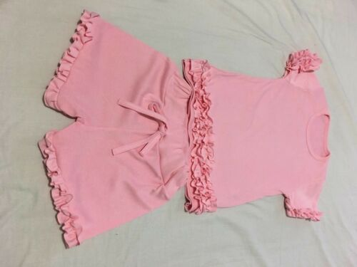 Girls 2 Piece Frill Loungesuit Age 4 And 12 Left
