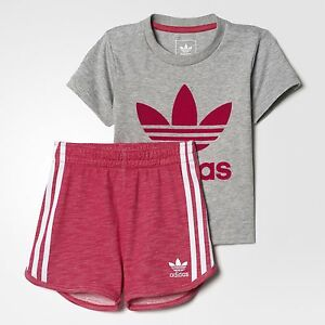68925ec9bb70 Adidas Originals Infant Girls Trefoil Shorts Set Tee   Shorts Full ...