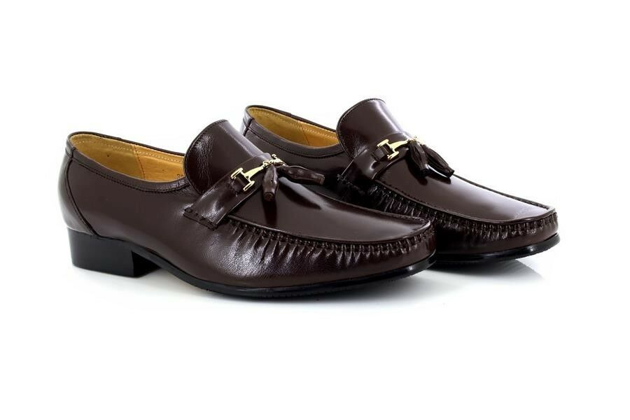 Mens Slip Patrik Brown Executive Tassle Toggle All Leather Slip Mens On Smart Mocassin Sh 8a1501