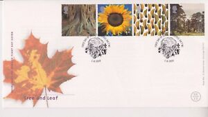 UNADDRESSED-GB-ROYAL-MAIL-FDC-COVER-2000-TREE-amp-LEAF-STAMP-SET-ST-AUSTELL-PMK