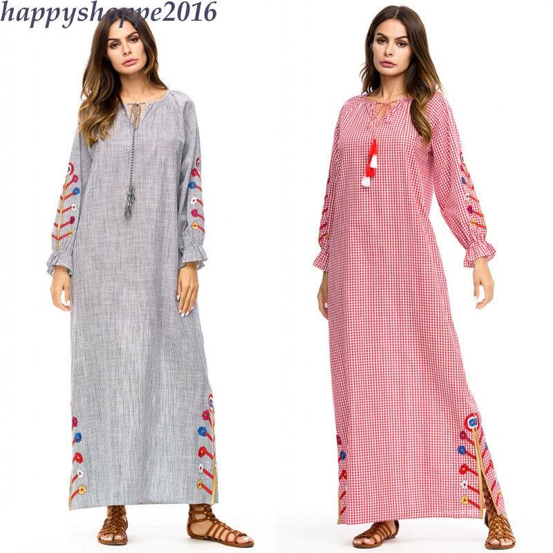 Dress Autumn Cotton Linen Embroidery FloralVintage Robe Muslim Women Maxi Abaya