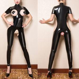 a53b2545866 Women Faux Leather Wet look Bodysuit Open Bust Crotch Jumpsuit ...
