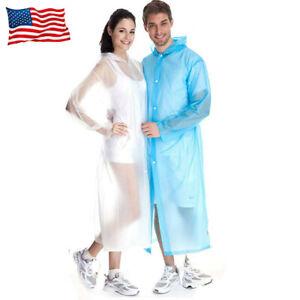 Men Women Raincoat Rain Coat Gown Hooded Waterproof Jacket Rainwear