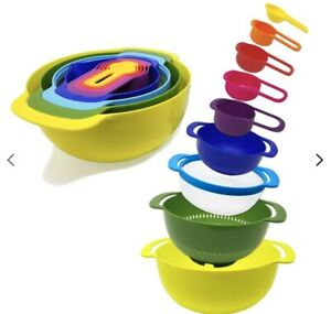 9 Pcs Nesting Bowls Set with Mixing Bowls Measuring Cups//9-Piece-Rainbow-Kitchen