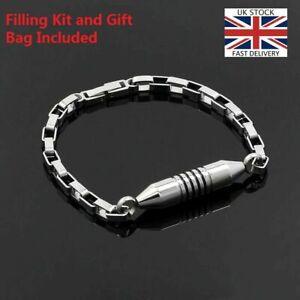 Silver-Cylinder-Bracelet-Keepsake-Cremation-Urn-Ashes-Funeral-Memorial-Jewellery